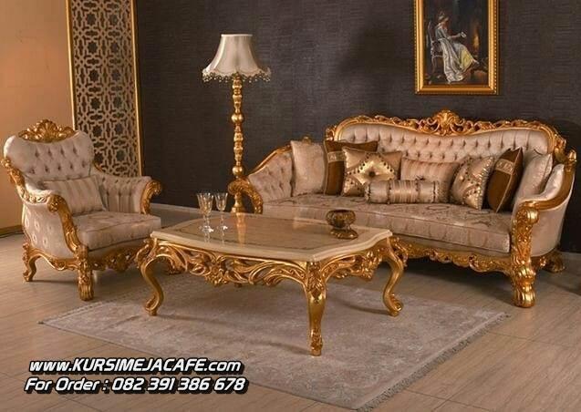 Kursi Sofa Tamu Ukir Warna Emas Gold