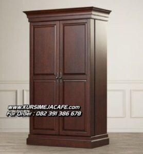 Lemari Pakaian Minimalis 2 Pintu Kayu Jati